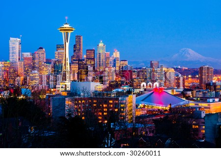 Seattle downtown at night - stock photo