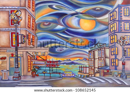 Seattle downtown near Pike Market. Oil painting on canvas. Original design painted in 2010. For sale exclusively on Shutterstock. - stock photo