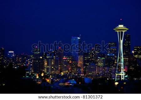 Seattle Downtown - Night shot - stock photo