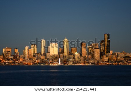 Seattle downtown night view from Alki Beach Part - stock photo