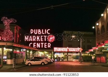 SEATTLE - FEB 6: The Pike Place Public Market Historic District on February 6, 2010 in Seattle, WA. Pike Place Market is a famous market's in the United States serving 10 million people annually. - stock photo