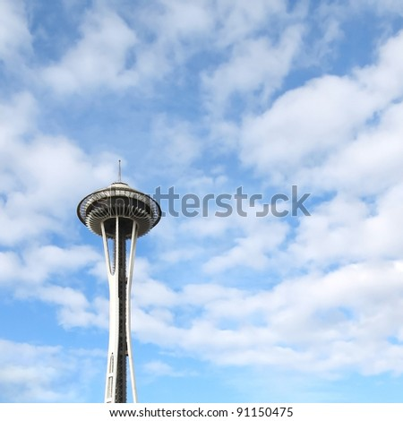 SEATTLE - FEB 7: The Seattle Space Needle on February 7, 2010 in Seattle, Washington, USA. The Space Needle was built in 1962 and is a symbol of that year's World's Fair. - stock photo