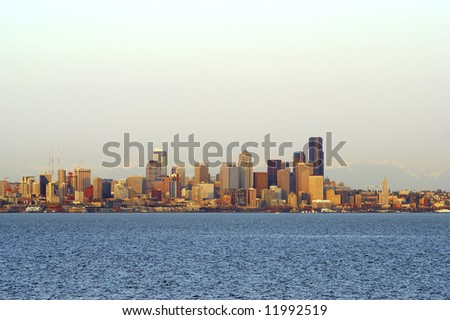 Seattle from the water - stock photo