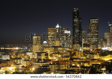 Seattle highrise and highway at night - stock photo