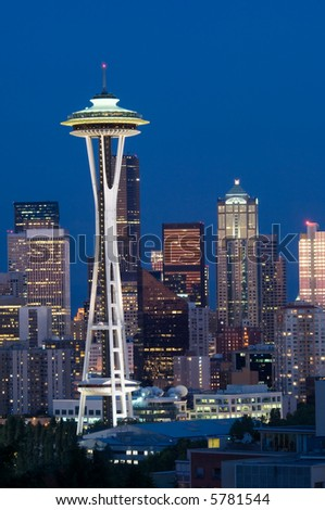Seattle highrises with Space needle in the evening - stock photo