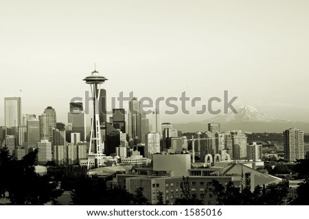 Seattle in sepia - stock photo