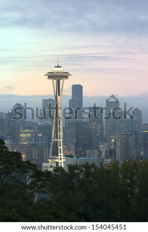 Seattle in the Early Morning with Mystery Scene - stock photo