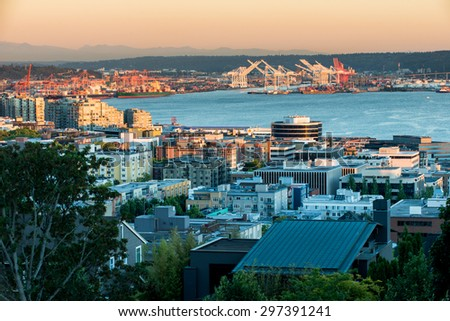 Seattle in the Evening - stock photo