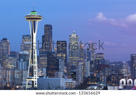 Seattle in the Evening with Space Needle - stock photo