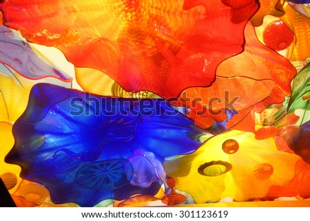 SEATTLE - JUL 23, 2015 - Abstract colors of blown glass ceiling,  Chihuly Garden and Glass Museum,  Seattle, Washington - stock photo