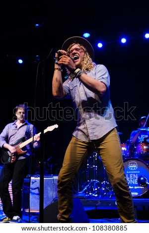 SEATTLE- JULY 20:  Folk, R&B singer Allen Stone performs on stage during the Capitol Hill Block Party on July 20, 2012