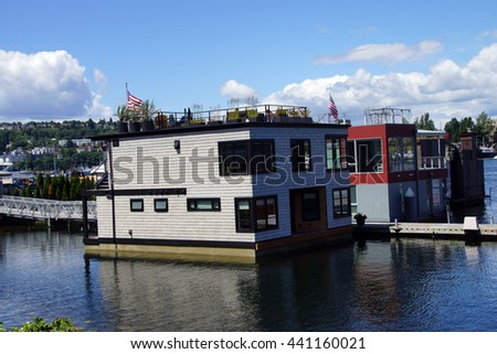 SEATTLE - JUN 16, 2016 - Seattle houseboats moored on Lake Union