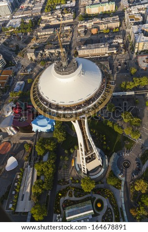 SEATTLE - JUNE 11 2013: Space Needle in Seattle on June 11, 2013 in Seattle, USA. Aerial photograph Seattle city skyline Space Needle, built as a symbol of the World's Fair 1962 in The Seattle Center - stock photo