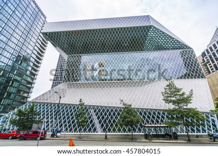 Seattle library,Seattle,Washington,usa.   07/05/16.  for editorial  - stock photo