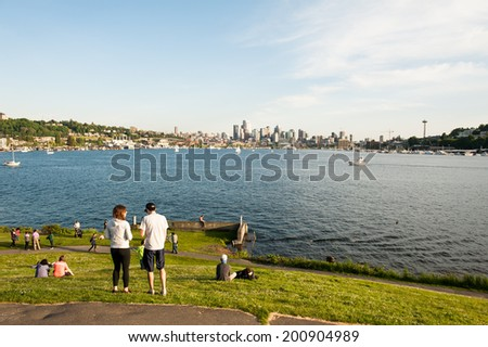 SEATTLE - MAY 11: Gas Works Park overlooks Lake Union and the Seattle skyline in Seattle on May 11, 2014. - stock photo