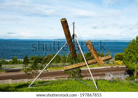 SEATTLE - MAY 9: The Olympic Sculpture Park overlooks the Puget Sound as seen on May 9, 2014 in Seattle. - stock photo