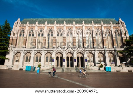 SEATTLE - MAY 11: The Suzzallo Library at the University of Washington in Seattle as seen on May 11, 2014. - stock photo