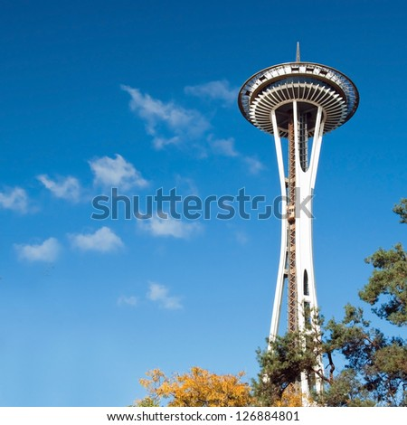 SEATTLE - OCTOBER 26: Space Needle in Seattle on October 26, 2011 in Seattle, USA. The Space Needle was built in 1962 and is a symbol of that year's World's Fair. - stock photo