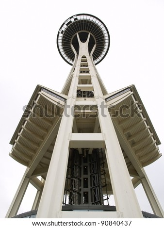 SEATTLE - OCTOBER 12: The Space Needle of Seattle, October 12, 2011 in Seattle, Washington. The Space Needle is 605 feet (184 m) high at its highest point and 138 feet (42 m). - stock photo