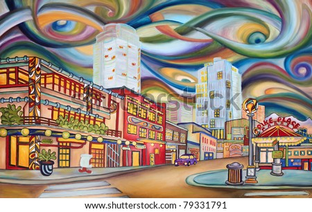 "Seattle, Pike Market area - modern abstract,  original oil painting. ""Pike Market Avenue"". One of the large oil painting from the series of ""Under Seattle's sky"" - exhibited in Seattle, in May 2011. - stock photo"