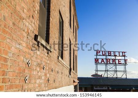 Seattle Public Market Sign, Pike Place Market, Seattle WA, USA - stock photo