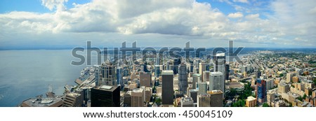 Seattle rooftop panorama view with urban architecture.
