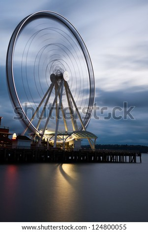 Seattle's Great Wheel, a ferris wheel on the waterfront. - stock photo