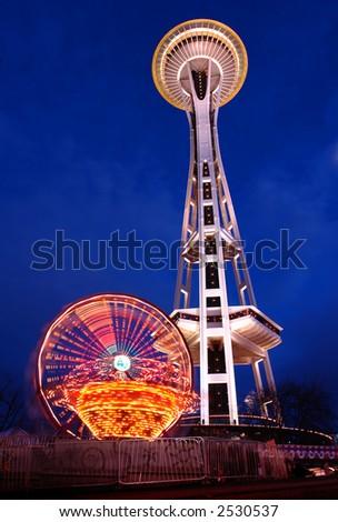 Seattle's Space Needle at dusk - stock photo
