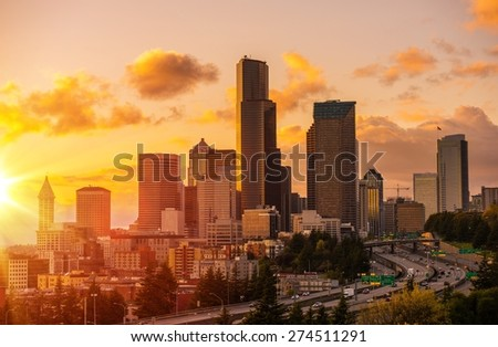 Seattle Scenic Sunset with Colorful Clouds. Seattle, Washington, United States. - stock photo