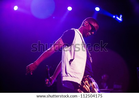 SEATTLE - SEPTEMBER 2, 2012:  Rapper Big Sean performs on the main stage at Key Arena during the Bumbershoot music festival in Seattle on September 2, 2012. - stock photo