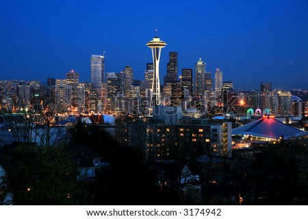 Seattle sky line viewed from queen anne - stock photo