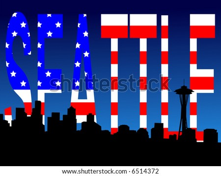 Seattle skyline and American Flag stars and stripes illustration JPG