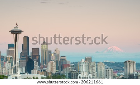 Seattle Skyline and Mount Rainier, from Kerry Park, WA - stock photo