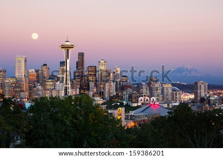 Seattle skyline at dusk - stock photo
