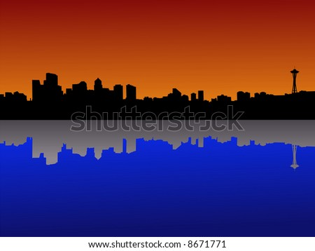 Seattle skyline at dusk reflected in lake Union JPG - stock photo