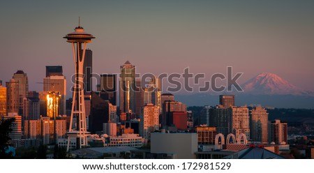 Seattle Skyline at Night - stock photo