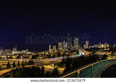 Seattle skyline at night - stock photo