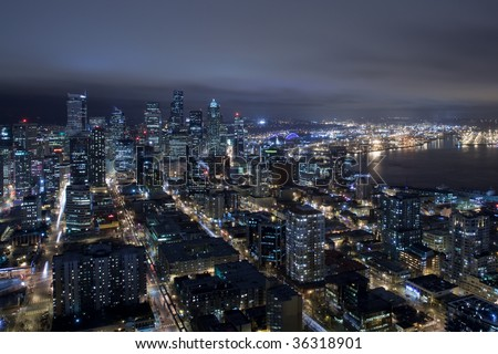 Seattle Skyline at Night from Air - stock photo