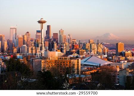 Seattle skyline at sunset - stock photo