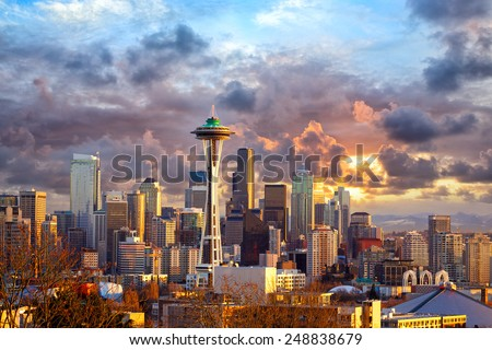 Seattle skyline at sunset, WA, USA - stock photo