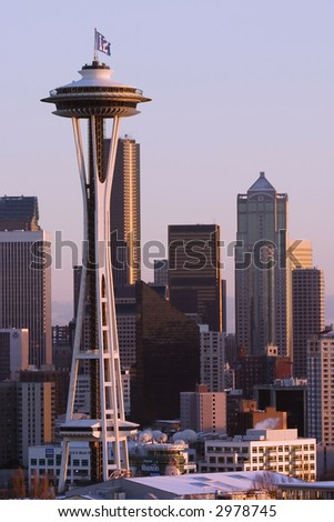 Seattle Skyline at sunset with Space Needle - stock photo