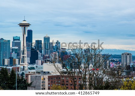 Seattle skyline before sunset - stock photo