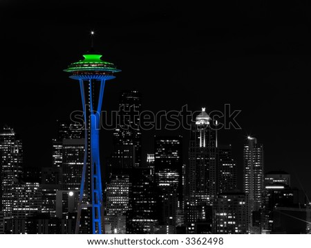 Seattle Skyline Color Accented - stock photo