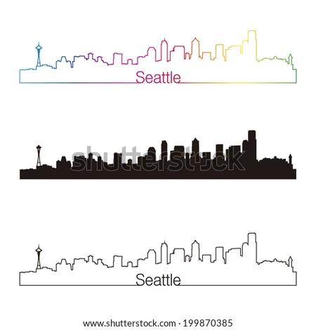 Seattle skyline linear style with rainbow - stock photo
