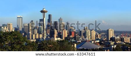 Seattle skyline panorama at sunset. - stock photo