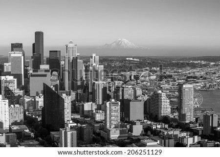 Seattle skyline panorama at sunset as seen from Space Needle Tower, Seattle, WA in black and white - stock photo