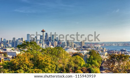 Seattle Skyline Panorama from Kerry Park - stock photo