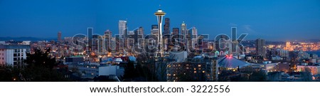 Seattle skyline panorama - viewed from Kerry Park - stock photo
