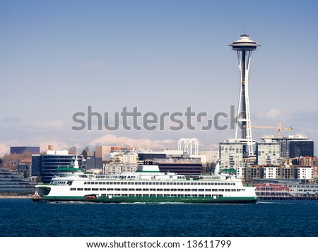 Seattle Skyline, Space Needle and Ferry - stock photo