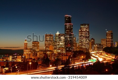 Seattle Skyline Sunset  - stock photo